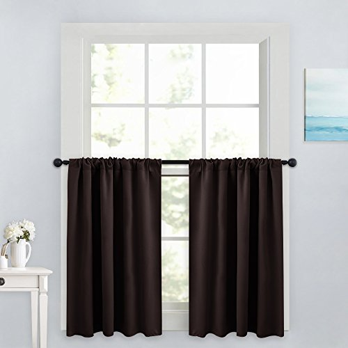 (PONY DANCE 36 Inches Curtain Valances - Rod Pocket Window Treatments Noise Reduction and Privacy Protection Curtain Tiers, 42