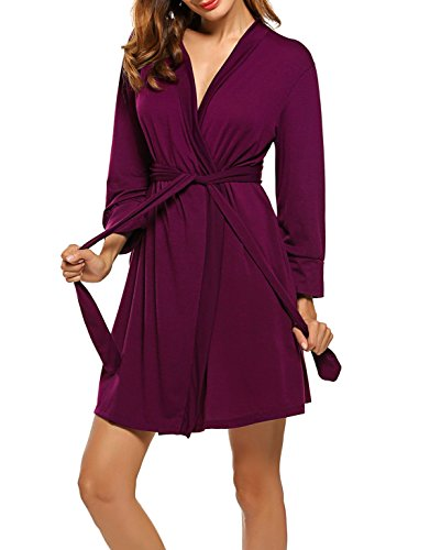 - Hotouch Womens Cotton Robe, Lightweight Woven Bathrobe Purple Red XXL