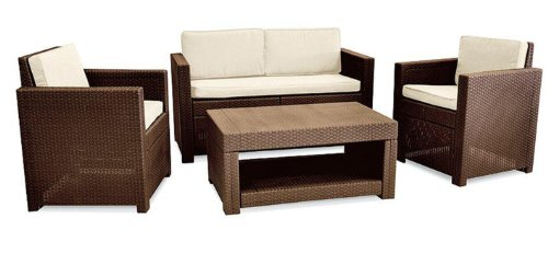 Allibert Monaco 4 Seater Lounge Set - Brown with Cream cushions