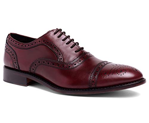 Anthony Veer Men's Ford Wingtip Brogue Lace-up Full Grain Leather Dress Formal Wedding Office Shoes Goodyear Welt (14 D US, Oxblood Full Grain Calfskin)