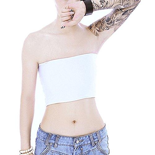 Vinaka Strapless Short Chest Binder Top for Tomboy Lesbian (XXL, White)