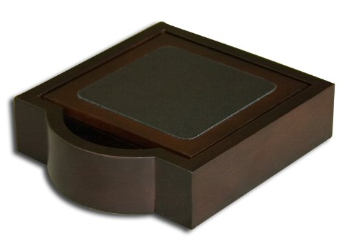 Dacasso Walnut and Leather 4 Coaster Set ()