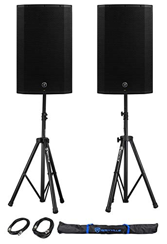 "(2) Mackie Thump15A THUMP-15A 15"" 1300w Powered DJ PA Speakers+Stands+Cables+Bag"