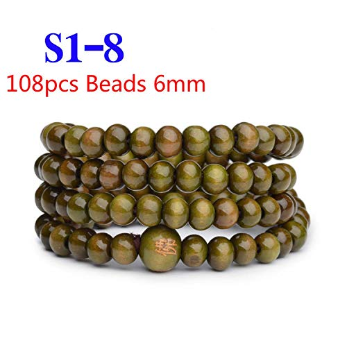 FJ-Direct 108 Beads 6mm Natural Sandalwood Buddhist Buddha Wood Prayer Bead Mala Unisex Men Bracelets & Bangles Jewelry Bijoux,S1-8 ()