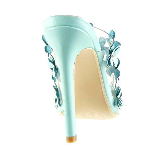 Tacco Elegante Moda Fiori Stiletto Decollete Borchiati Scarpe Angkorly Alto Donna on Blu cm Stiletto Trasparente 12 Tacco Mules con Slip 64z5Pwq5