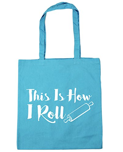 HippoWarehouse THIS IS How I Roll Tote Compras Bolsa de playa 42 cm x38 cm, 10 litros azul (Surf Blue)