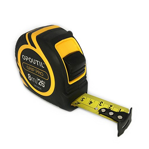 Stainless steel 25Ft double sided tape measure inches retractable measuring tape auto-lock power lock tape ruler-OPOUTIL professional 26' ruler for carpenter, construction, DIY measurement