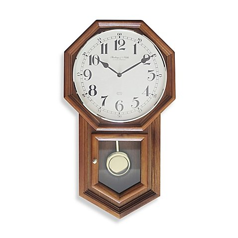 (Sterling & Noble Vintage Schoolhouse Regulator Wall Clock in Oak)