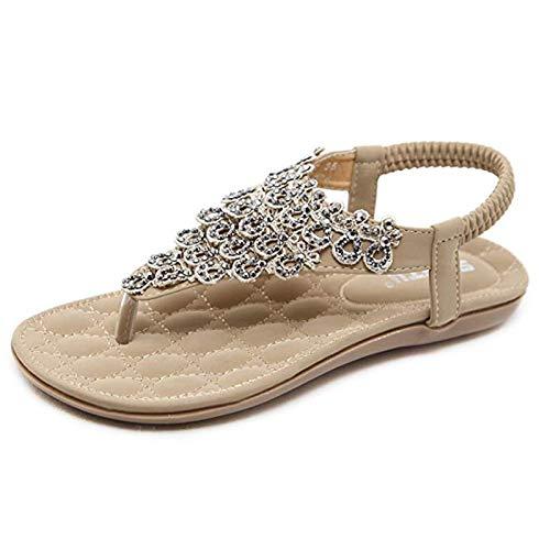 (Women's Casual Peep-Toe Buckle Flat Sandals Shoes Roman Summer Low Heel Sandals Slip-On Elastic Rhinestone Clip Toe Sandals,Apricot,36)