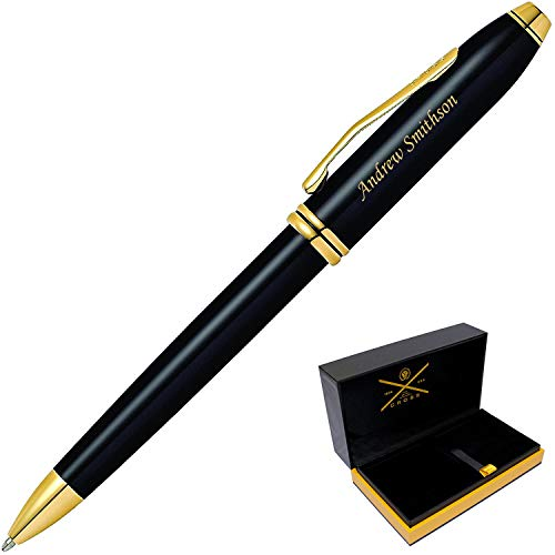 Dayspring Pens | Engraved/Personalized AT Cross Townsend Black with 23krt Gold ballpoint. Customized Gift Pen. Fast 1 Day Engraving