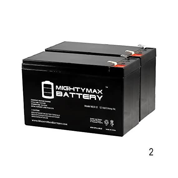 Mighty Max Battery 12V 9Ah Compatible Battery for APC Back-UPS NS1250, NS 1250-2 Pack Brand Product 1 ML9-12 SLA is a 12V 9AH Sealed Lead Acid (SLA) rechargeable maintenance free battery. Pack of 2 Dimensions: 5.94 inches x 2.56 inches x 3.94 inches. Terminal: F2. Listing is for the Battery only. No wire harness or mounting accessories included. SLA / AGM spill proof battery has a characteristic of high discharge rate, wide operating temperatures, long service life and deep discharge recover.