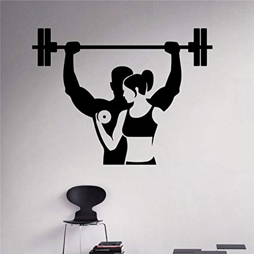 Fitness Wall Decal Workout Gym Vinyl Sticker Healthy Lifestyle Home Interior Sport Wall Art Murals Housewares Design 76 X 58 Cm