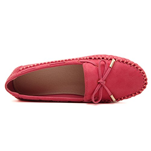 Moccasin on Slip Loafer Beauty Women's Red Shoes D2C Bow tIZpwYqx