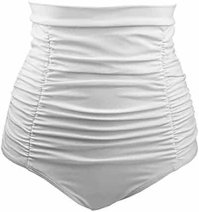 e282c14ba93 Laimeng_world Summer Clearance Women's Swim Shorts Retro High Waist Ruched Bikini  Bottom Swim Brief