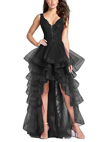 Aurora Bridal Women s Tulle High Low Prom Dresses 2018 Beaded Homecoming  Formal Evening Gowns A008 91bbb5dbf