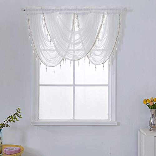 WUBODTI Waterfall Valance Curtains Sheer for Windows,White Silver Silk Line Luxury Beaded Curtain Valance Sheer Window Curtain with Tails,Rod Pocket Single Valance Drapes,57W x 37L Inch