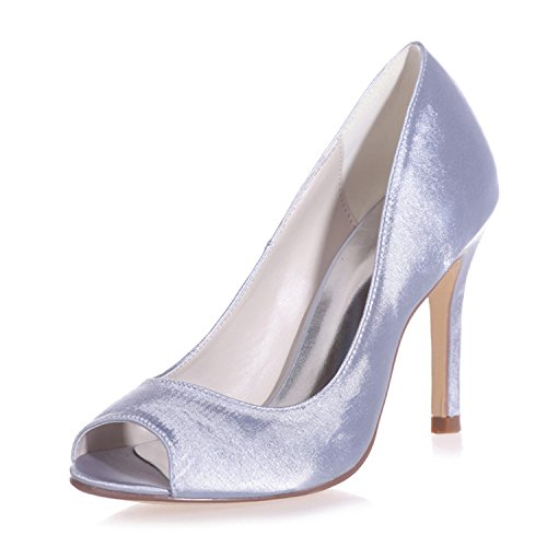 Clearbridal Womens Open Peep Toe Satin Pumps Heels Wedding Bridal Shoes ZXF5623-12 Silver vHs7Fh