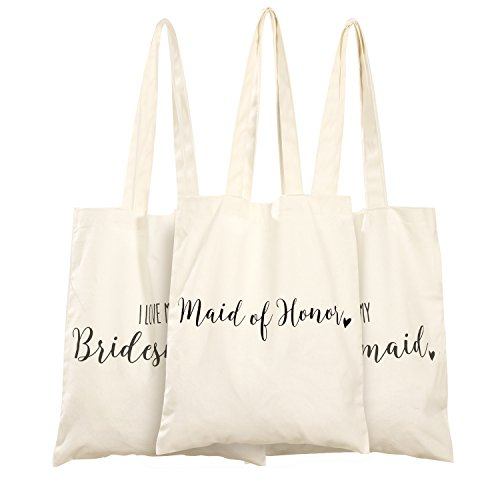 Ling's moment Bachelorette Canvas Tote Bags for Women Bags I Love My Bridesmaid Tote Bag Maid of...