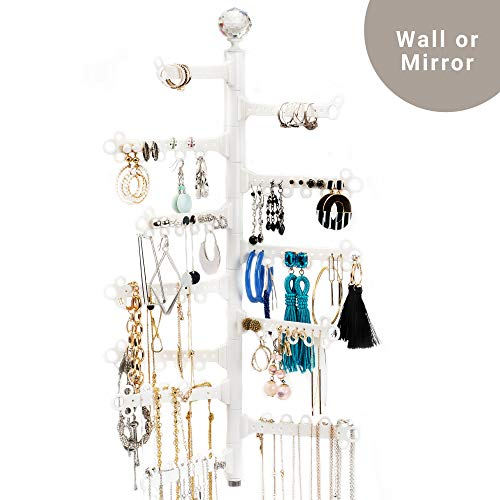 All Hung Up 12-Tier ~ Extra Capacity ~ Wall OR Mirror Mounted ~ Hanging Jewelry Organizer Holder ~ Display Everything ~ Save Space ~ Long Necklaces, Earrings (110 Pairs), Rings, Bracelets - White
