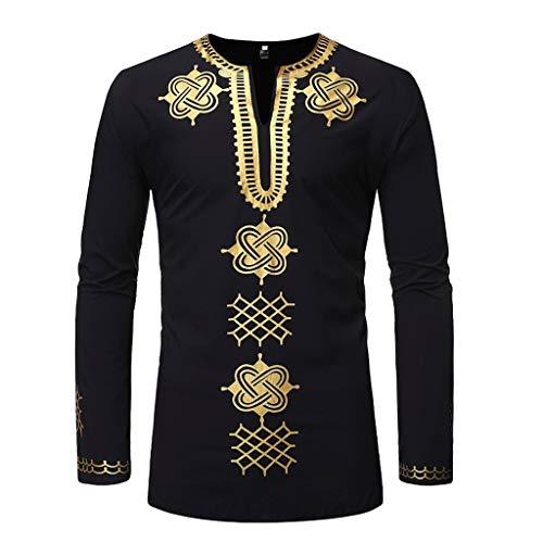 (JJLIKER Mens African Tribal Clothing Printed Floral Henley Shirt Slim Fit Dashiki Tees Long Sleeve Casual Tops Black)