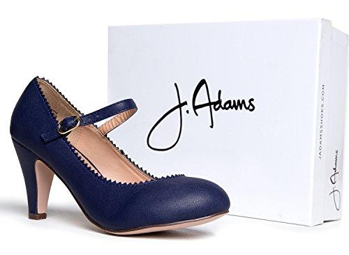 J. Tacchi Adams Mary Jane Kitten - Scarpa Vintage A Punta Smerlata Con Cinturino Regolabile - Miele Di Marina