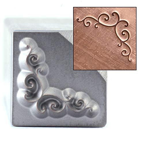 Beaducation Flourish Corner Border Metal Design Stamp, 9mm Decorative Embellishment Punch Stamping Tool Hand Stamped DIY Jewelry Crafts Original Metal Design Stamps