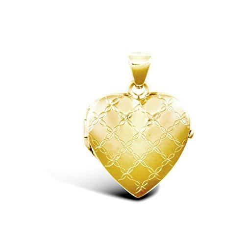 Jewellery World Bague en or jaune 9carats en forme de cœur médaillon pendentif