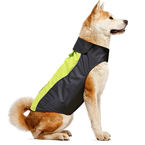 - Vizpet Dog Raincoat Waterproof Lightweight & High Visibility Dog Coat Jacket for Small Medium Large Dogs-M