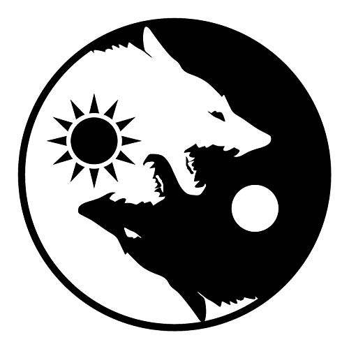OTA Sticker YIN YANG Wolf Black White (2PACK) Decal Symbol for CAR Window Truck Motorcycle Chopper Van SUV PPV Scrapbook Phone CASING Laptop Door Helmet - Truck Car Chopper