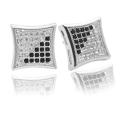 Silver Square Stud - LuReen Gold Silver 11mm Square CZ Stud Earring of Mens Boy aretes para hombre ... (Silver Black)