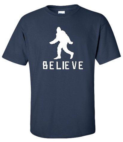 Adult Navy Blue Bigfoot Believe Sasquatch T-Shirt - 2XL