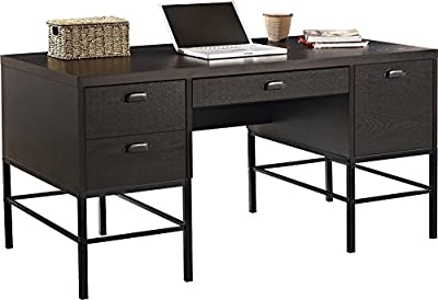 Altra Furniture The Manhattan Line Mid-Century Designed Home Office Desk with 4 Drawers and Metal Legs, Dark Brown