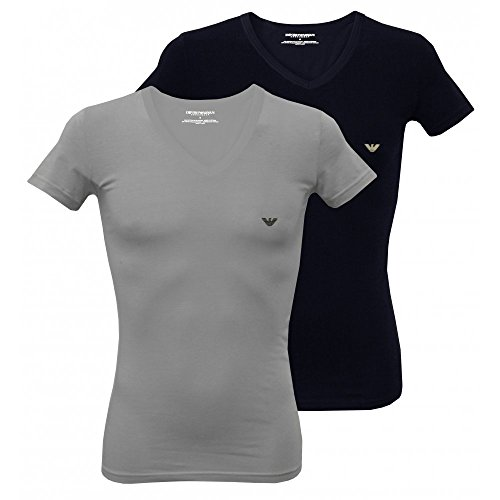 Emporio Armani 2-Pack Stretch Cotton Men's V-Neck T-Shirts, Grey/Navy Medium - Armani Emporio Logo
