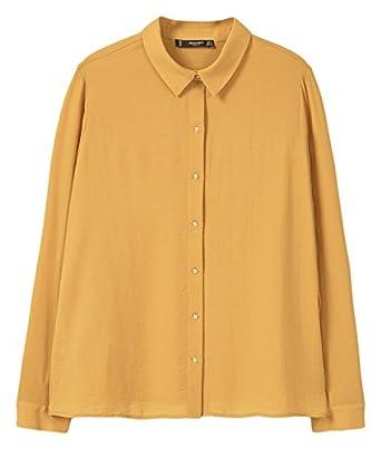 142c75760ec6a8 MANGO - Buttoned flowy Long sleeve shirt - Size:14 - Color:Ochre:  Amazon.co.uk: Clothing