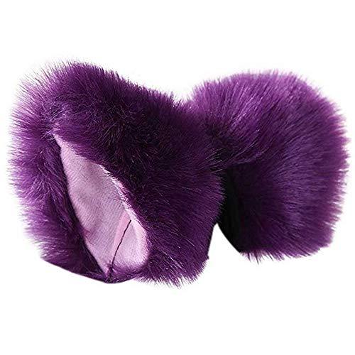 Cat Fox Fur Ears Hair Clip Headwear Anime Cosplay Halloween Costume Hair Clip Anime (Dark Purple+Pink) ()