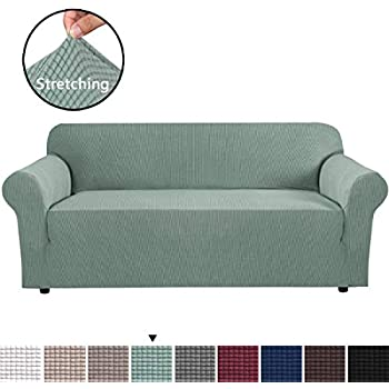 H.VERSAILTEX Stretch Extra Large Sofa Slipcover, Sofa Covers for Living Room, 1 Piece Furniture Lounge Cover for Sofa, Feature Spandex Jacquard Fabric for 4 Seater Sofa Cover (X-Large Size, Sage)