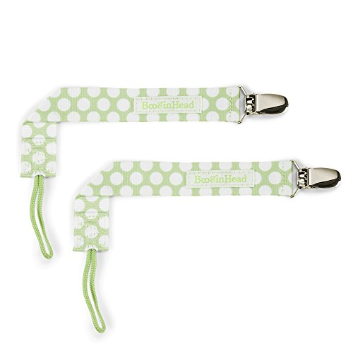 orn PaciGrip Pacifier Clip, Holder, Toy, Teether, Soothie, Universal Loop Layette Girl, Boy, Polka Dots, Green, 2 Pack ()