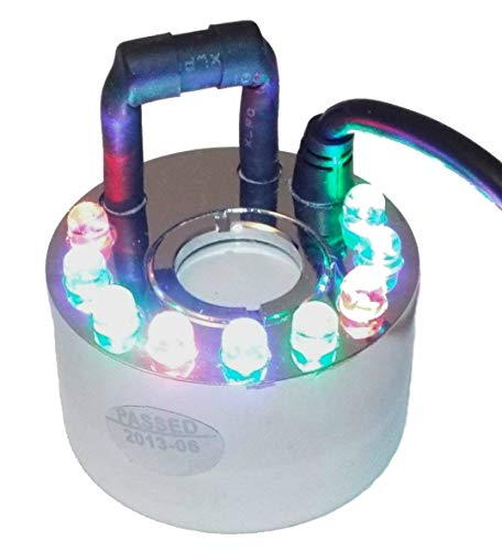 1 DISC FOGGER/MIST MAKER with 9 RBG Multi-Color Programmable LEDs Includes Controller and Transformer - Great for Halloween, Parties and -