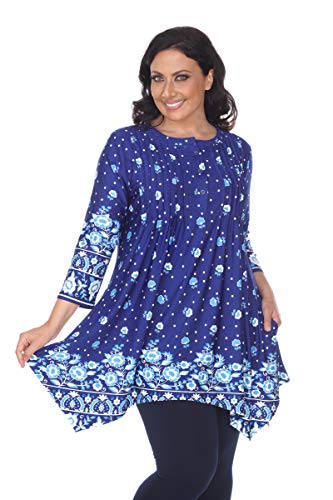 White Mark Vilana Art Nouveau Paisley Printed Tunic Top in Blue & White - 2XL from White Mark