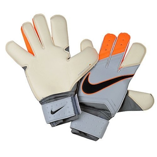 Nike GK Grip 3 Soccer Goalkeeper Gloves (Grey, Total Orange) Sz. 8