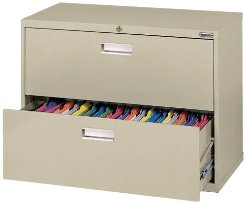 - Sandusky 600 Putty Steel Lateral File Cabinet, 2 Drawers, 28-3/8