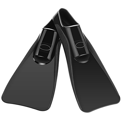 CAPAS Swim Fins, Training Long Fin Rubber Fins Swim Flippers Full Foot Wear Comfortably Snorkel Fins for Swimming Snorkeling Men Women Adult Youth Size (Black, M)
