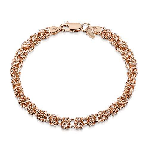 Amberta 14K Rose Gold Plated on 925 Sterling Silver 4.7 mm Byzantine Chain Bracelet Length 7.5