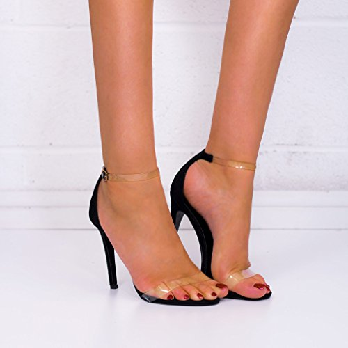 SPYLOVEBUY MISRI Womens Open Peep Toe Barely There High Heel Stiletto Sandals Pumps Shoes Black Suede Style