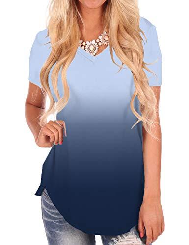 (NIASHOT Women's Tunic Tops Plus Size for Leggings Cute Ombre Summer T Shirt Short Sleeve)