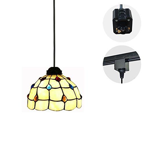 STGLIGHTING 1-Light H-Type Track Light Pendants 4.9 Feet Cord Tiffany Style Glass Shade Restaurant Chandelier Pendant Light Bulb Not Included