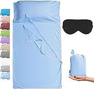 Cozysilk Sleeping Bag Liner with Zipper - Pure Cotton Sleep Sack - Travel Sheet for Hotel, Pure Silk Sleep Mas