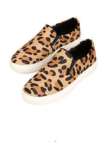 Mocassini ShangYi Donna arrotondata Casual Comoda Animal Piatto Scarpe leopard Scamosciato Nero libero Punta Tempo rffEqw