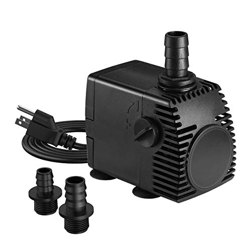 Homasy 320GPH (1200L/H, 22W) Submersible Pump, Ultra Quiet Fountain Water Pump with 4.1ft Power Cord, 3 Nozzles for Aquarium, Fish Tank, Pond, Statuary, Hydroponics-Black ()