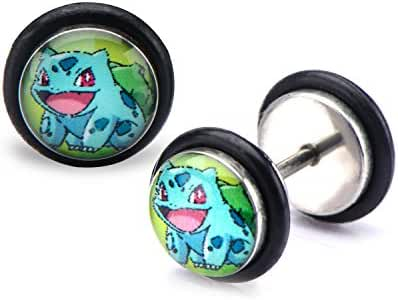 Pokemon Bulbasaur Fronts 18g Stainless Steel Faux Plugs